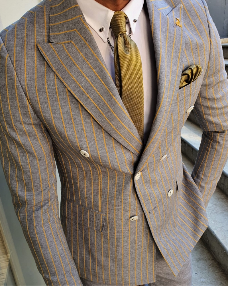 Aysoti Yellow Slim Fit Pinstripe Double Breasted Suit