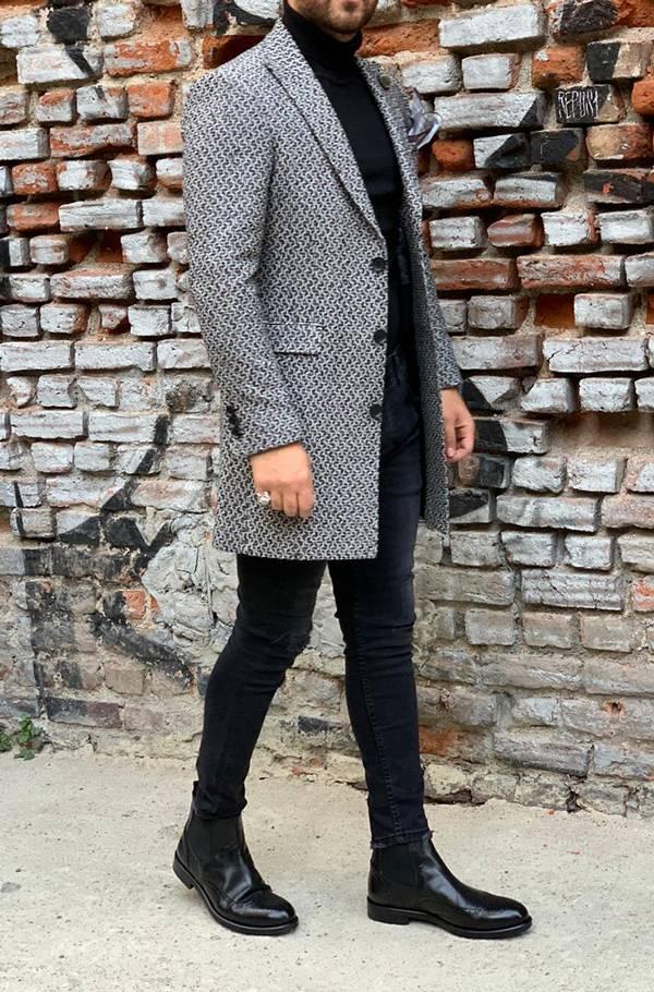 Barnaby Gray Slim Fit Wool Long Coat