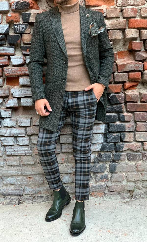 Barnaby Green Slim Fit Wool Long Coat