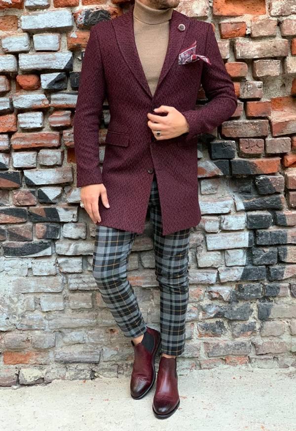 Barnaby Red Slim Fit Wool Long Coat