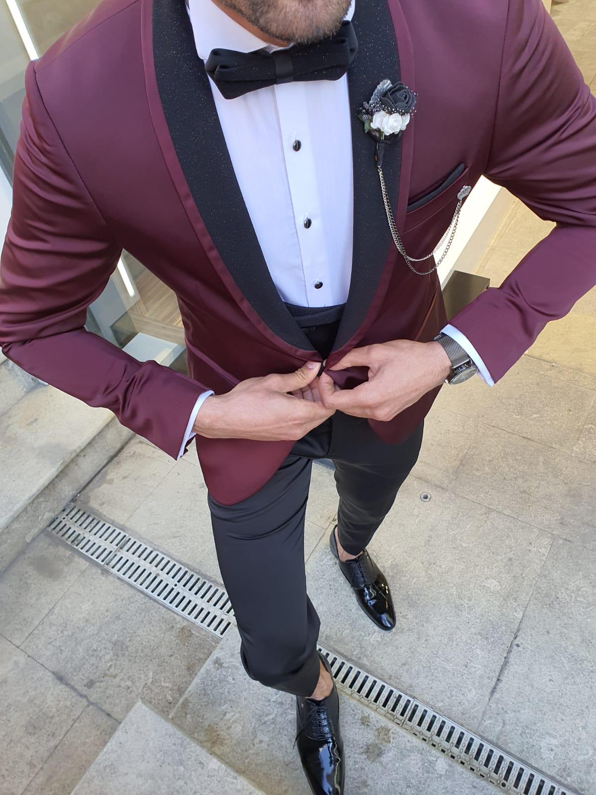 Olgop Burgundy Slim Fit Shawl Lapel Tuxedo