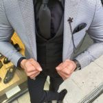 Aysoti Varsa Gray Slim Fit Patterned Suit