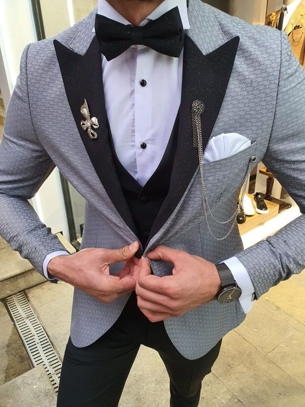 Aysoti Lacey Gray Slim Fit Patterned Tuxedo