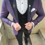 Aysoti Lacey Purple Slim Fit Patterned Tuxedo