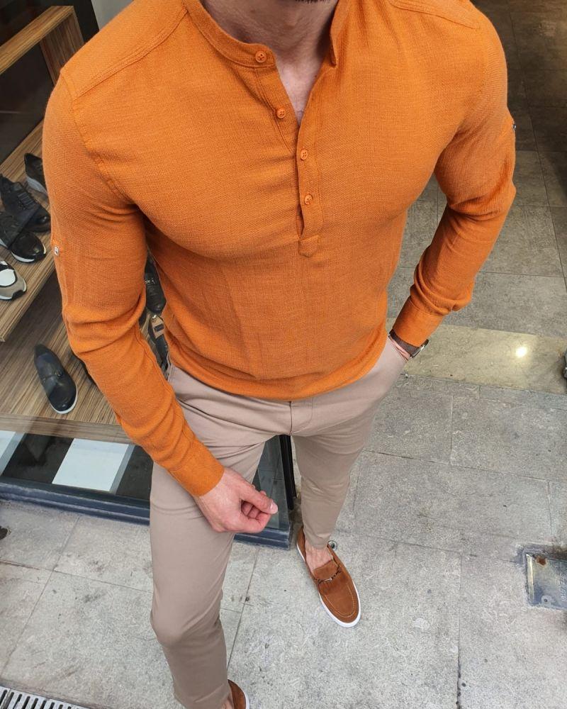 Aysoti Orange Slim Fit Cotton Shirt