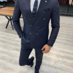 Aysoti Tegol Navy Blue Slim Fit Double Breasted Pinstripe Suit