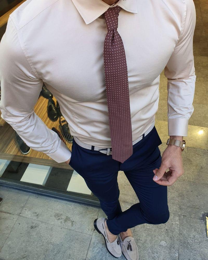 Aysoti Beige Slim Fit Cotton Shirt