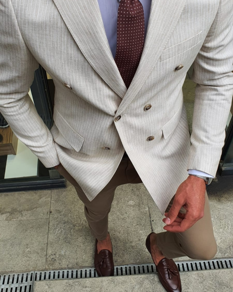 Aysoti Beige Slim Fit Double Breasted Pinstripe Blazer