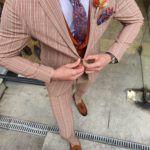 Aysoti Varada Beige Slim Fit Pinstripe Suit