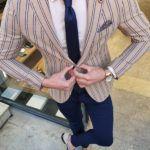 Aysoti Beige Slim Fit Striped Blazer