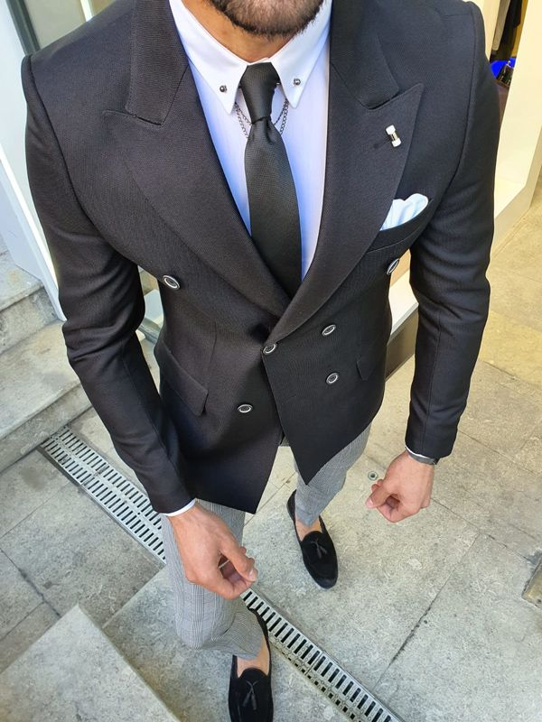 Aysoti Black Slim Fit Double Breasted Blazer