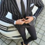 Aysoti Black Slim Fit Striped Blazer