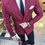 Aysoti Burgundy Slim Fit Double Breasted Blazer