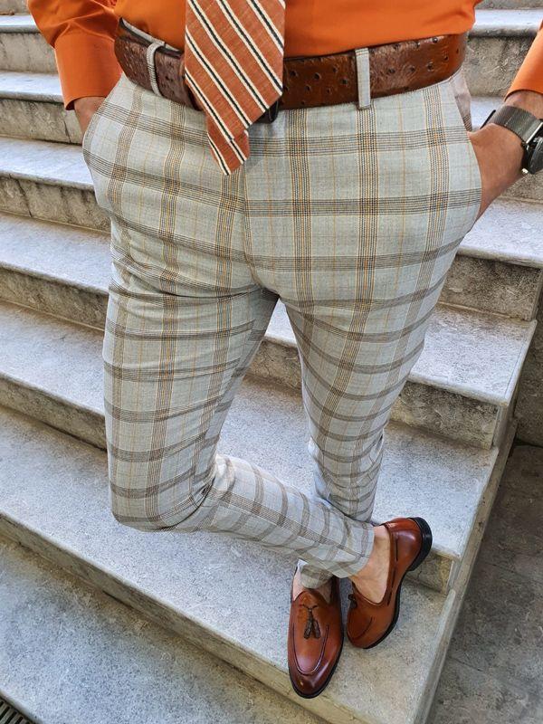 Aysoti Langred Camel Slim Fit Plaid Pants