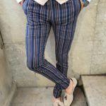 Aysoti Langred Dark Blue Slim Fit Chalk Stripe Pants