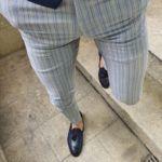 Aysoti Belgun Slim-fit Gray Slim Fit Pinstripe Pants