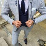 Aysoti Varada Gray Slim Fit Pinstripe Suit