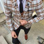 Aysoti Viram Brown Slim Fit Plaid Check Suit