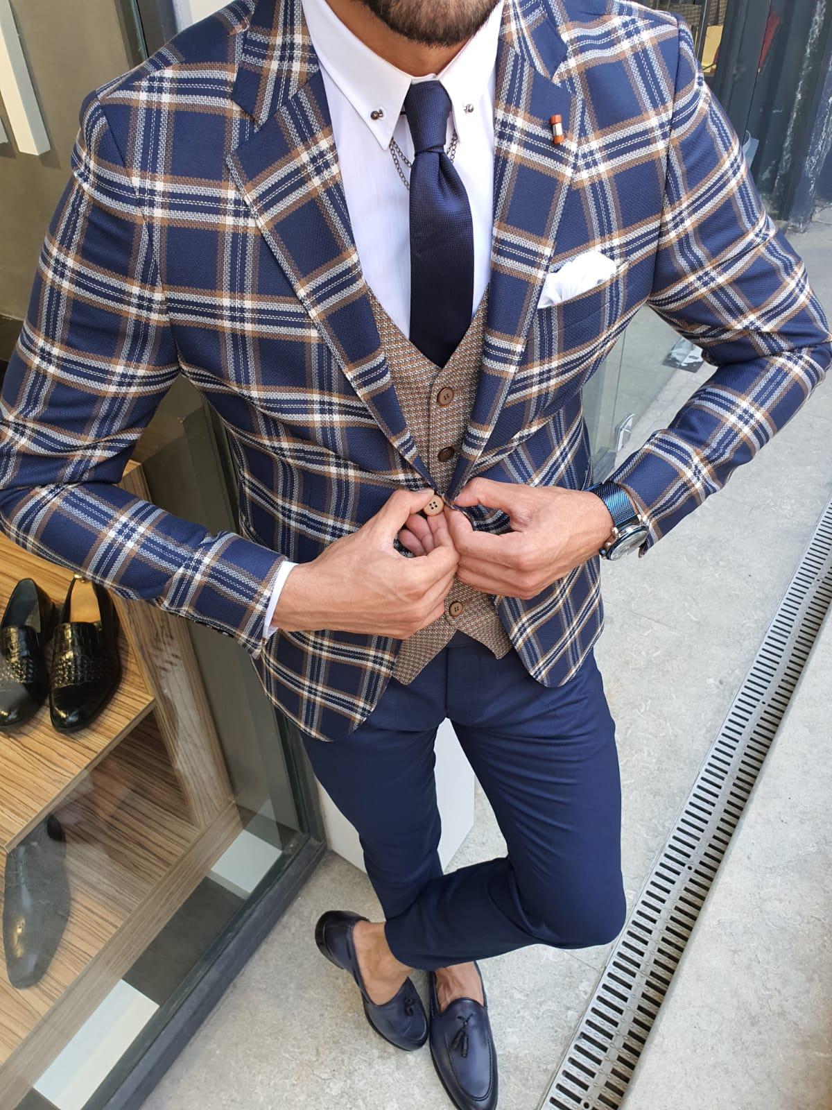 Aysoti New Gentleman Indigo Slim Fit Plaid Suit