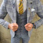 Aysoti Grove Light Blue Slim Fit Plaid Suit