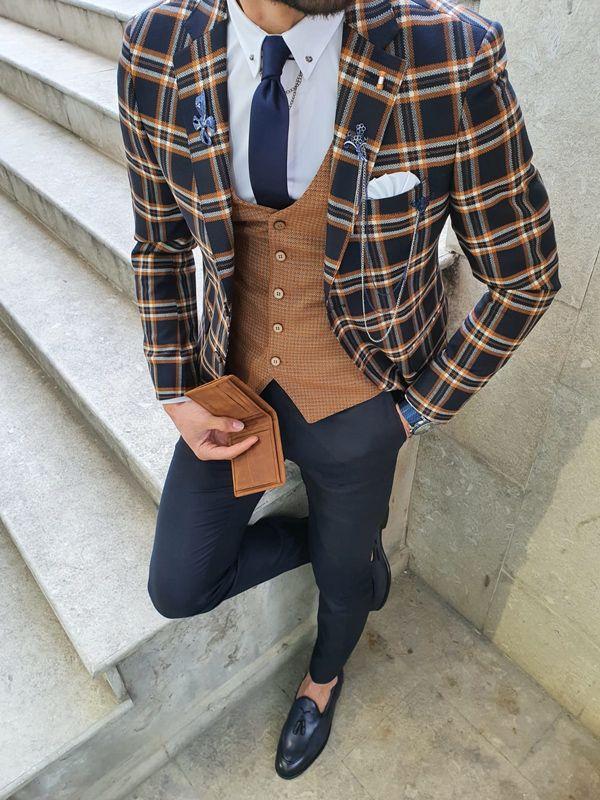 Aysoti Viram Navy Blue Slim Fit Plaid Check Suit