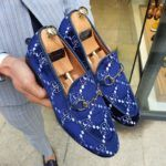 Aysoti Sellew Blue Velvet Loafer