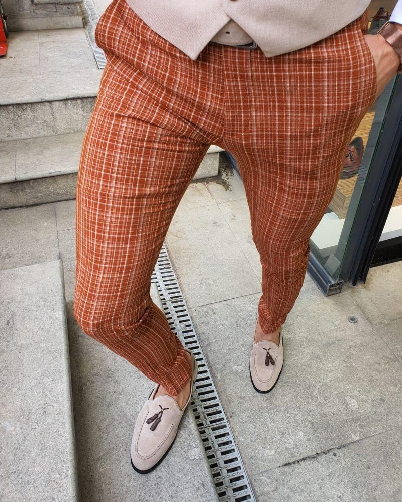 Aysoti Belgun Orange Slim Fit Check Pants