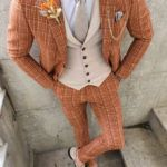 Aysoti Varada Orange Slim Fit Pinstripe Suit