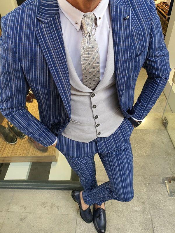 Aysoti Varada Sax Slim Fit Pinstripe Suit