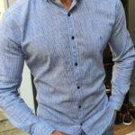 Aysoti Blue Slim Fit Pinstripe Shirt