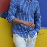 Aysoti Sax Slim Fit Striped Shirt