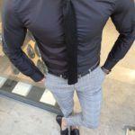 Aysoti Black Slim Fit Cotton Shirt