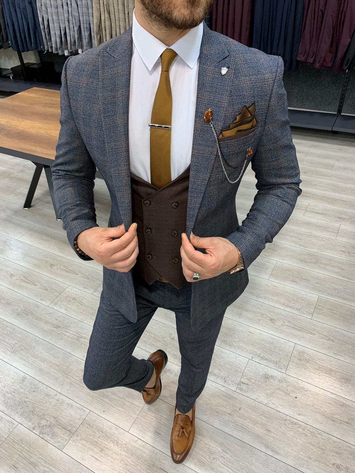 Aysoti Concord Gray Slim Fit Plaid Check Suit