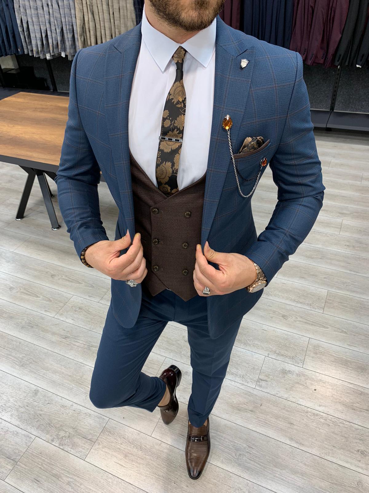 Aysoti Concord Navy Blue Slim Fit Plaid Suit
