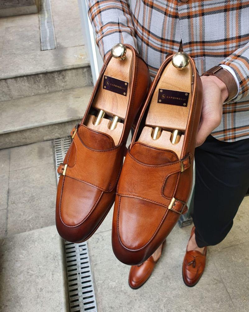 Aysoti Marav Brown Double Monk Strap Loafer