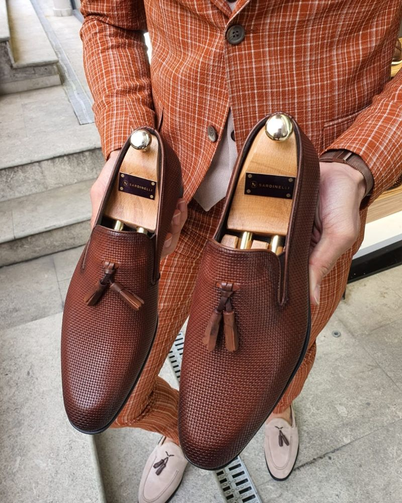 Aysoti Sellew Brown Patterned Tassel Loafer