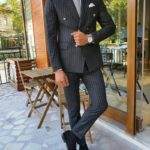 Aysoti Black Slim Fit Pinstripe Double Breasted Suit
