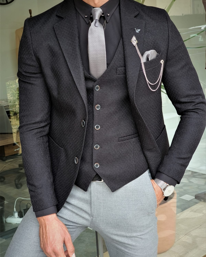 Aysoti Mitik Black Slim Fit Suit