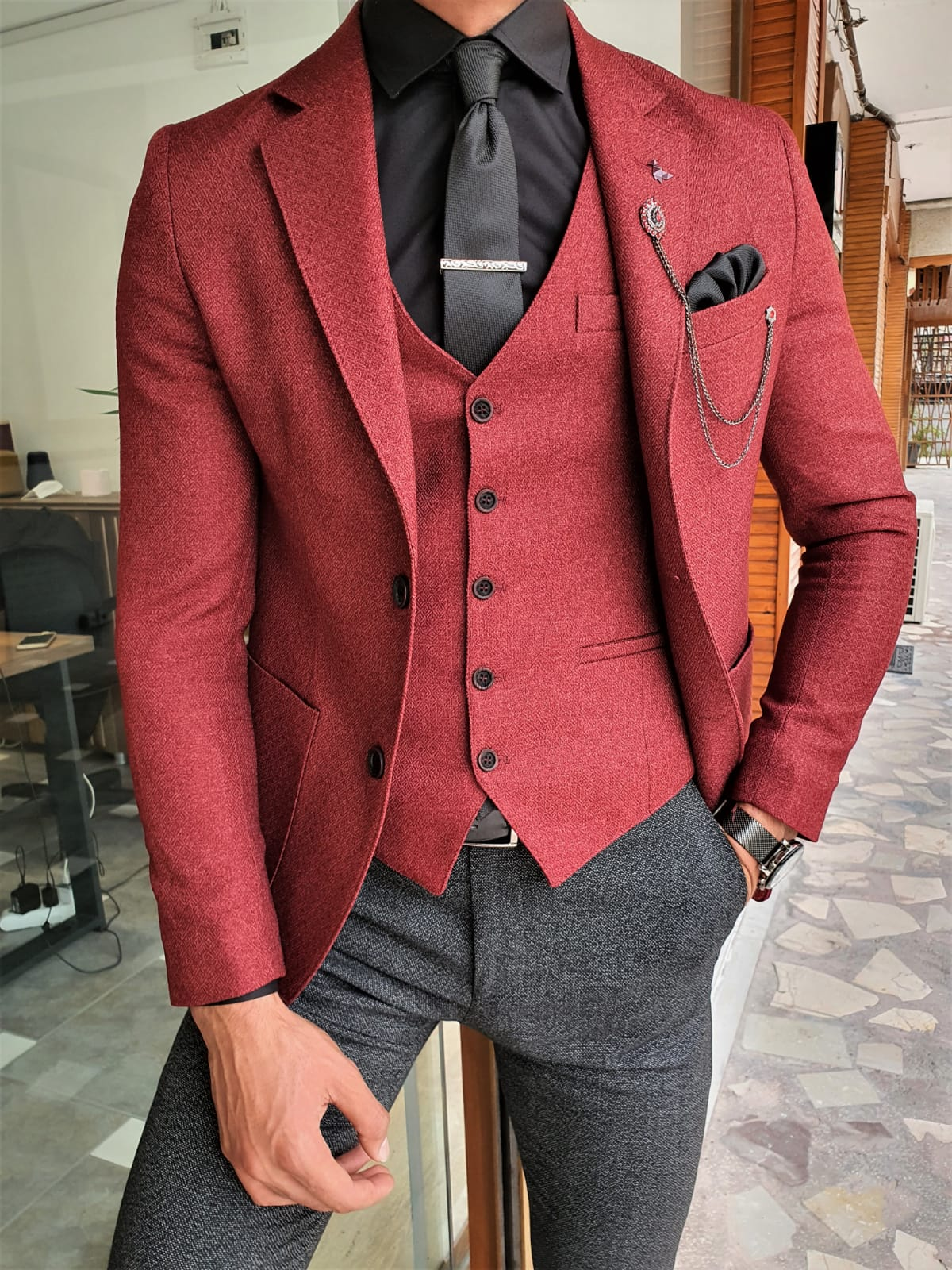 Aysoti Mitik Claret Red Slim Fit Suit