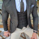 Aysoti Mitik Khaki Slim Fit Suit