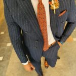 Aysoti Navy Blue Slim Fit Pinstripe Double Breasted Suit