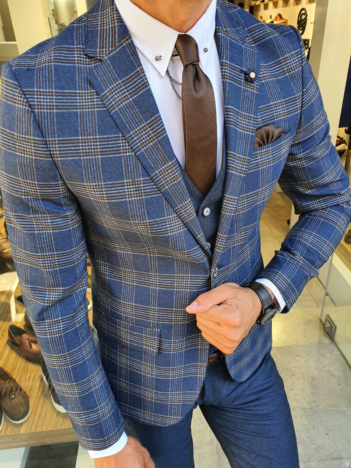 Aysoti Mosqie Navy Blue Slim Fit Plaid Suit