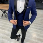Aysoti Verdak Blue Slim Fit Peak Lapel Tuxedo