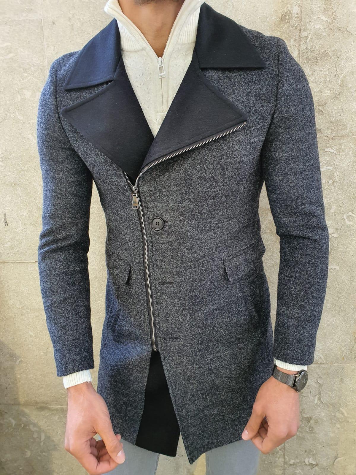 Aysoti Anthracite Slim Fit Zipper Wool Coat