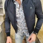 Aysoti Black Slim Fit Patterned Jacket
