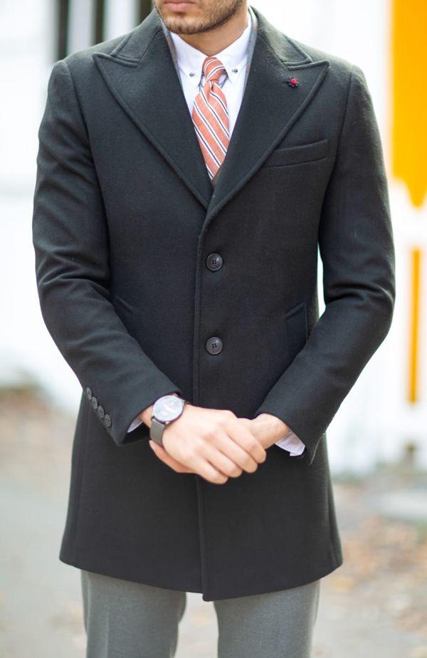 Aysoti Black Slim Fit Wool Coat