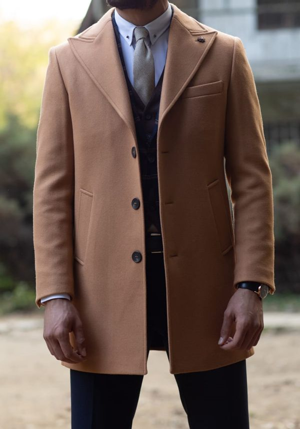 Aysoti Camel Slim Fit Wool Coat