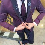Aysoti Mirage Damson Peak Lapel Groom Suit