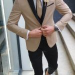 Aysoti Mirage Gold Peak Lapel Groom Suit