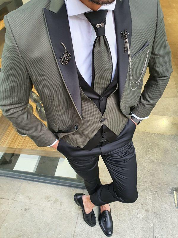 Aysoti Mirage Khaki Peak Lapel Groom Suit